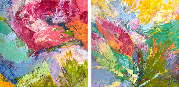 Red Floral Diptych Abstract Painting by Dorothy Fagan