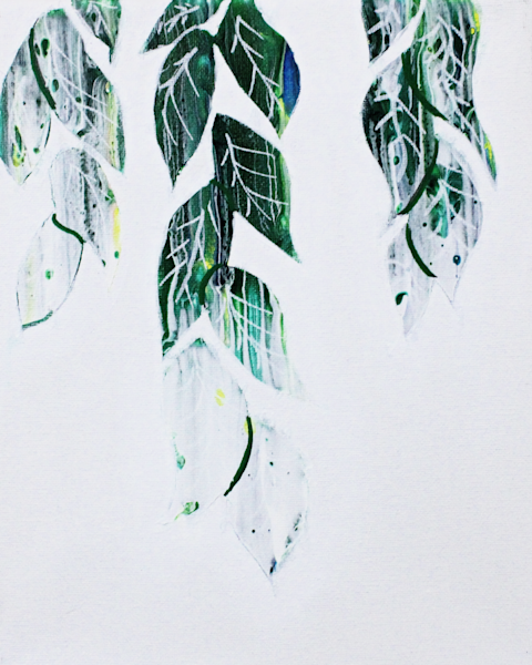 Frosted Leaves Fluid Art Prints and Merchandise