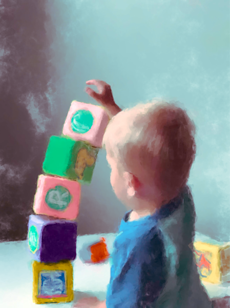 Kid Playing With Blocks Art   Windhorse