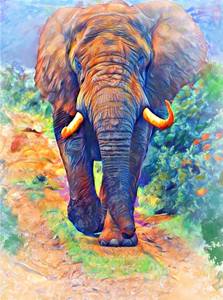Elephant On The Path Art   Windhorse