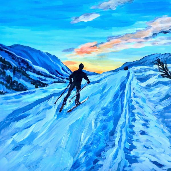 Cross country ski Alaska art print