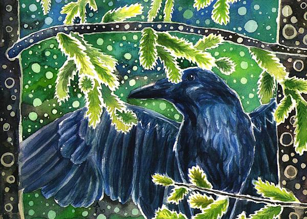 Raven Of The Forest Art | Amanda Faith Alaska Paintings / Estuary Arts, LLC