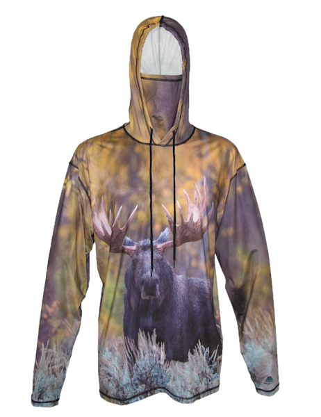 Forest Reign   Bull Moose Sun Protective Wildlife Graphic Hoodie   Last Chance Gallery
