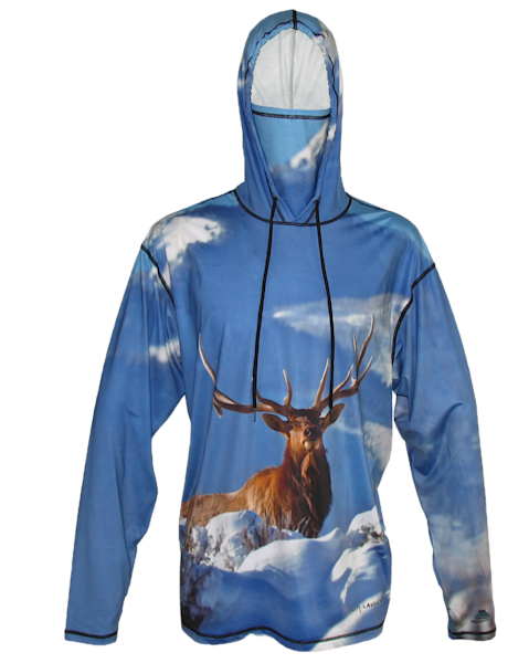 King Of The Mountain   Elk Sun Protective Wildlife Graphic Hoodie   Last Chance Gallery