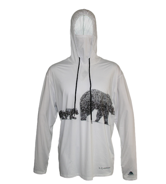 Spring Descent   Three Bears Sun Protective Wildlife Graphic Hoodie   Last Chance Gallery