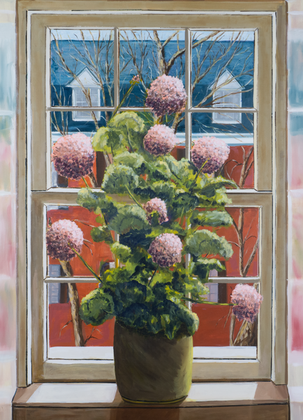 Flower Pot On Window Sill Print