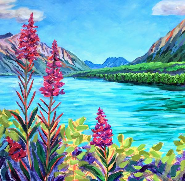 Alaska Fireweed by Glacier Lake by Amanda Faith Thompson