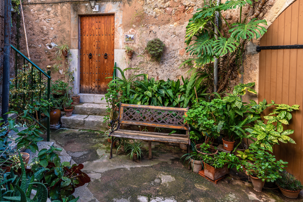 Art Print Palma Mallorca Spain Bench and Courtyard