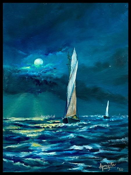 """Moon-Lit Stormy Seas"" in Oils by Aprajita Lal (Original 9x12)"