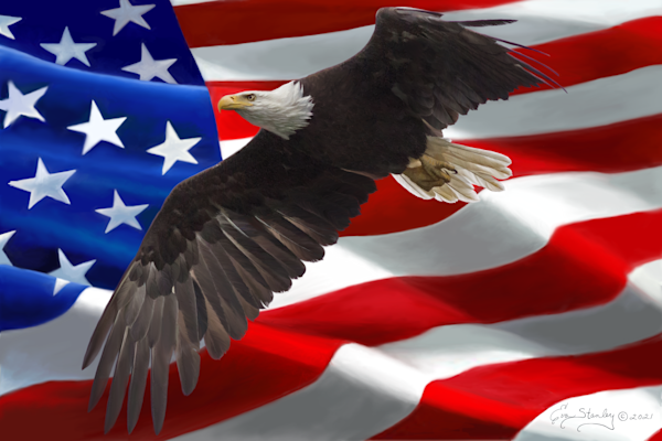 American Bald Eagle and Flag painting