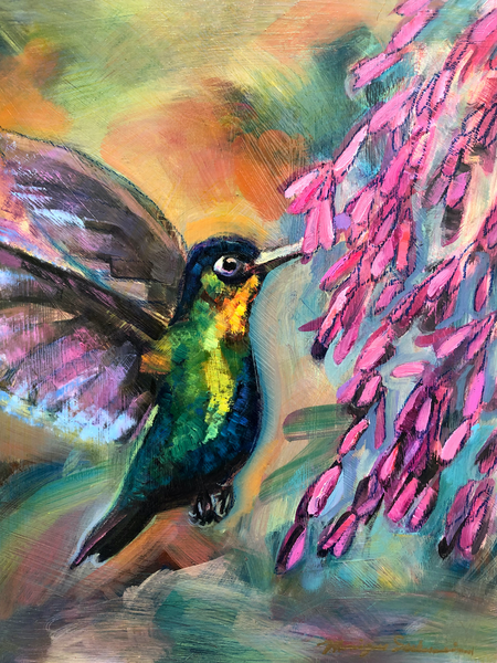 """High quality art prints of paintings by Monique Sarkessian .This is a high quality print of my original oil painting """"Glory Carrier Selah"""" of a ruby throated hummingbird gathering nectar from fuschia trumpet flowers."""