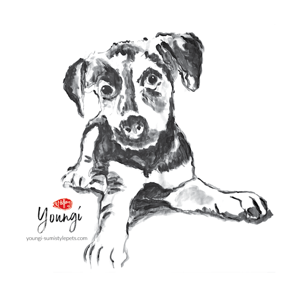 Brooklyn: Terrier Mix (Sticker) Art | Youngi-Sumistyle pets