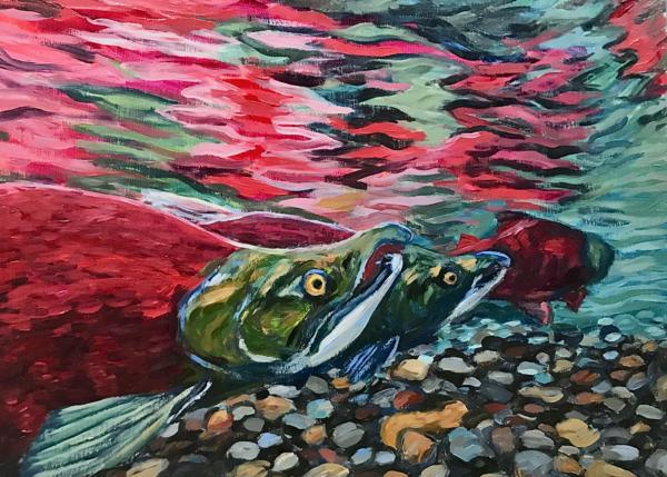 Red Salmon Swirl art print by Alaska artist Amanda Faith Thompson