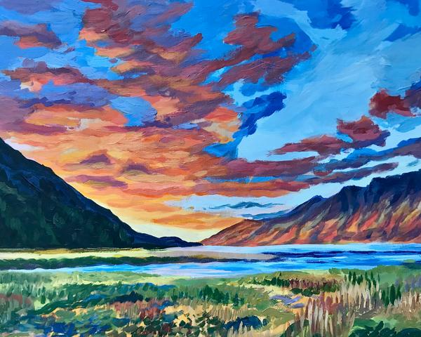 Hope, Alaska Sunset Art Print from oil painting by Amanda Faith Thompson