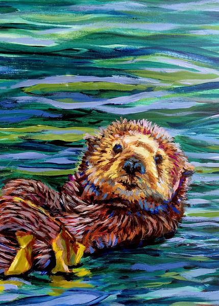 Homer Otter, Closeup Art   Amanda Faith Alaska Paintings / Estuary Arts, LLC