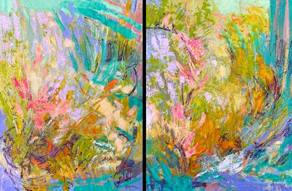 Original Oil Painting Swimmingly Happy In My Garden By The Sea Art | Dorothy Fagan Joy's Garden