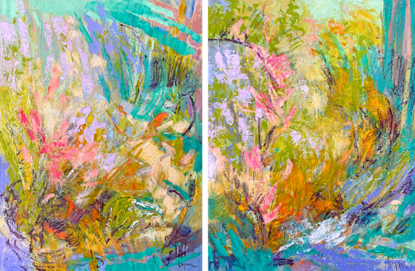Yellow Abstract Diptych Canvas Art Print by Dorothy Fagan