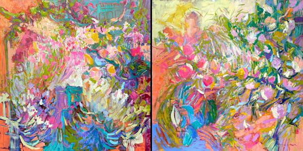 Tangerine Dream, Passion Fruit, Original Oil Painting Diptych Art | Dorothy Fagan Joy's Garden