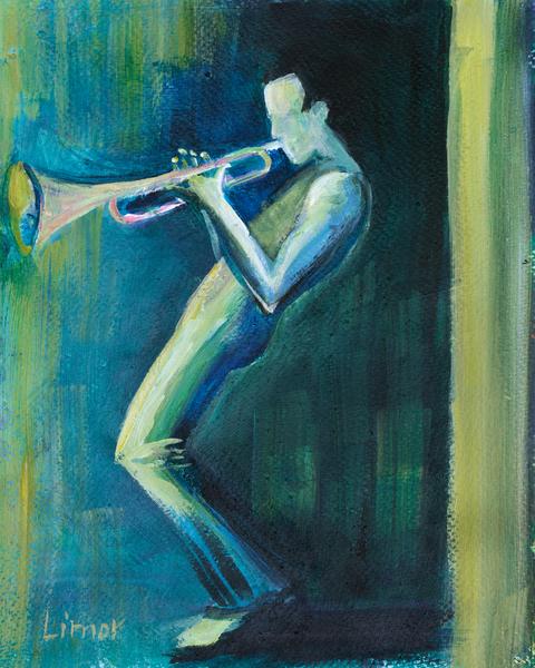 Trumpet In Blue Art | Limor Dekel Fine Art