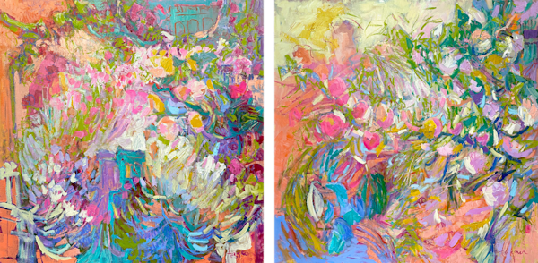 Oversize coral and pink expressive botanical abstract