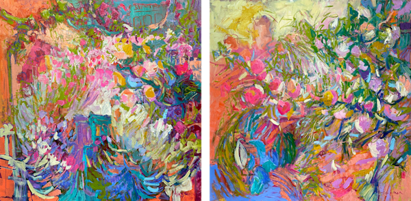 Diptych Tangerine Dream, Passion Fruit  Art   Dorothy Fagan Joy's Garden