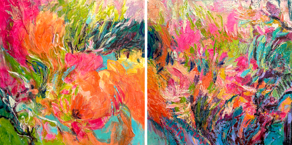 Pink Coral Floral Abstract Diptych Oil Painting by Dorothy Fagan
