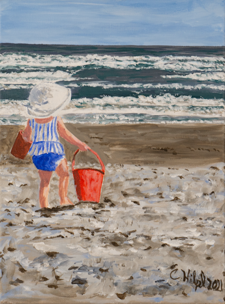 Baby on Beach with Red Bucket