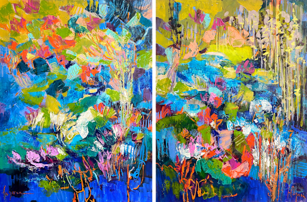 Bright blue and orange abstract river diptych
