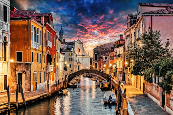 Art Print Venice Italy Sunset and Canal