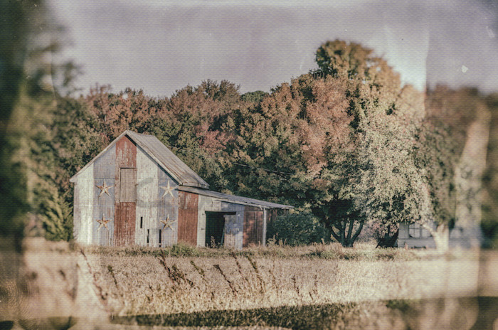 Patriotic Barn in Field Glass Plate Landscape Photo Wall Art by Landscape Photographer Melissa Fague