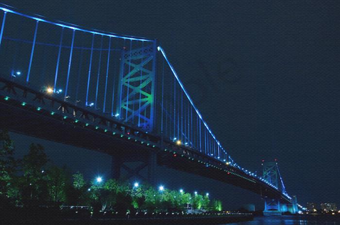 Ben Franklin Bridge Night Photo Wall Art by Nature photographer Melissa Fague