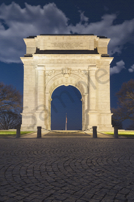 Valley Forge Arch Night Photo Wall Art by Nature photographer Melissa Fague