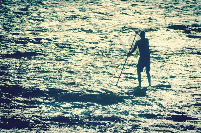 Paddle Surfer and Ocean Reflections, Coastal  Wall Art Print