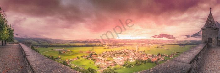 Village Sunset, Gruyeres, Fribourg, Switzerland