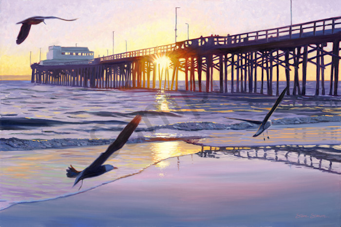 Newport Pier Sunset painting