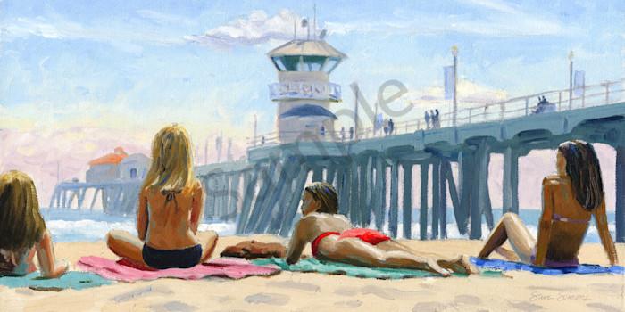 Girls Sunbathing Near Huntington Pier