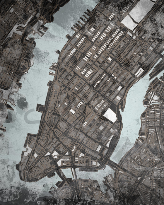 Manhattan City Map- NYC Wall Art- Perfect for Interior Design