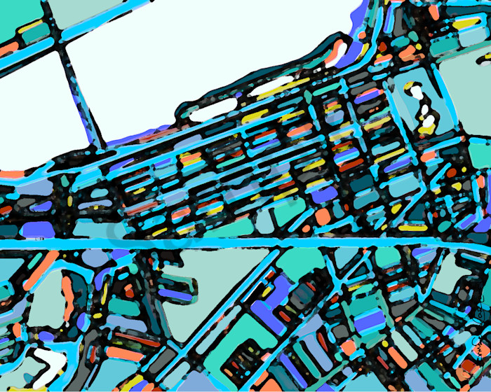 Abstract Map Art of Boston Back Bay For Sale
