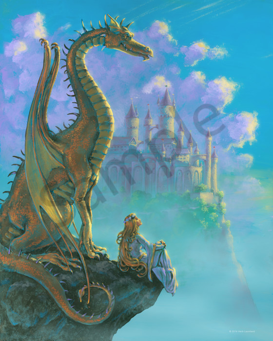 Dragon and Maiden on a cliff by a castle