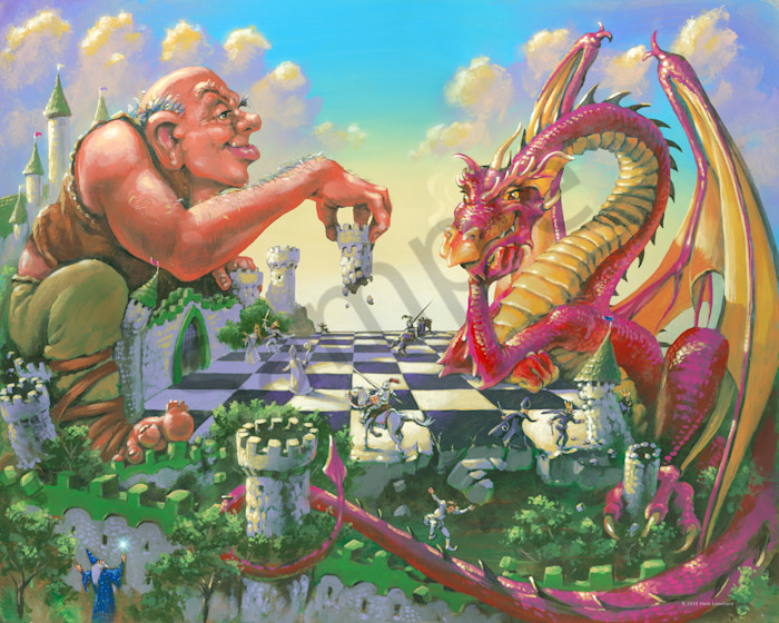 Giant and Dragon playing Chess
