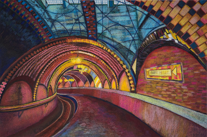 Architecture Art of Old NYC City Hall Subway Art Painting