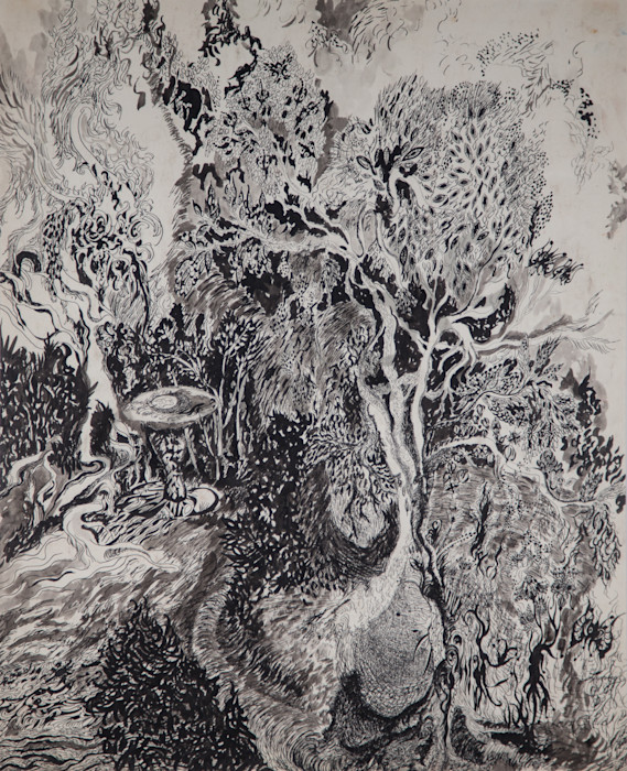 A Pen and Ink Tree Landscape In Smithtown NY
