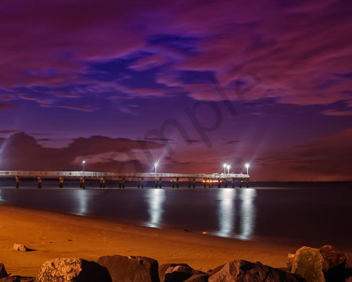 The Pier at Woodland Beach Night Photo Wall Art by Nature photographer Melissa Fague