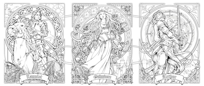 Arthuir Triptych - Color Your Own