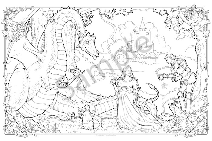 Dragon Tea Party - Color Your Own