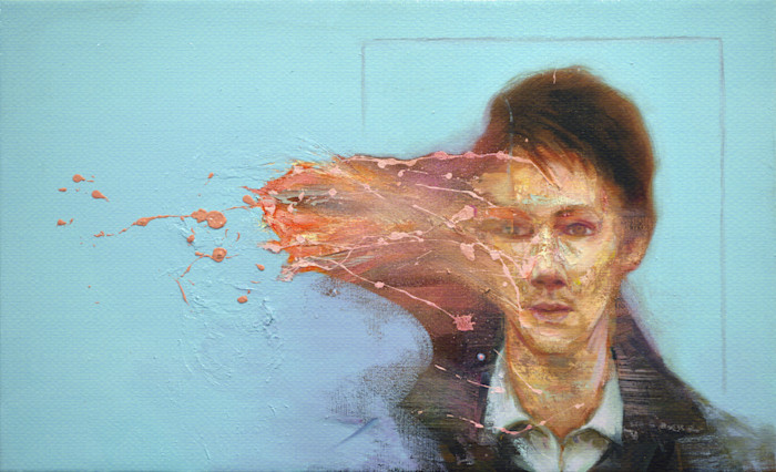 Dissolving portrait painting of young man
