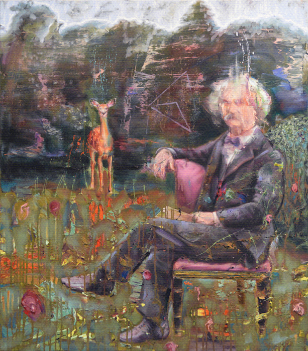 Portrait of Mark Twain with a deer