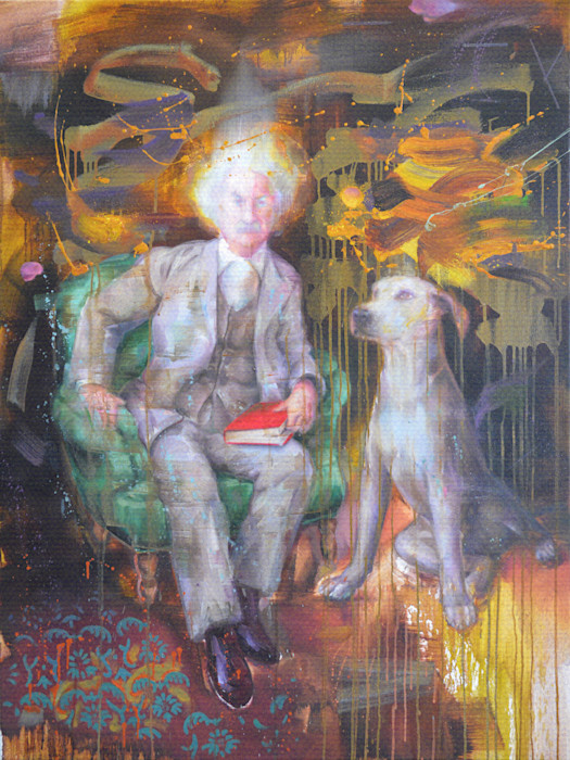 Portrait of Mark Twain with a dog