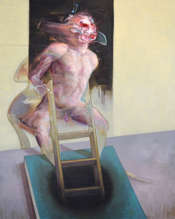 Nude male body with ladder