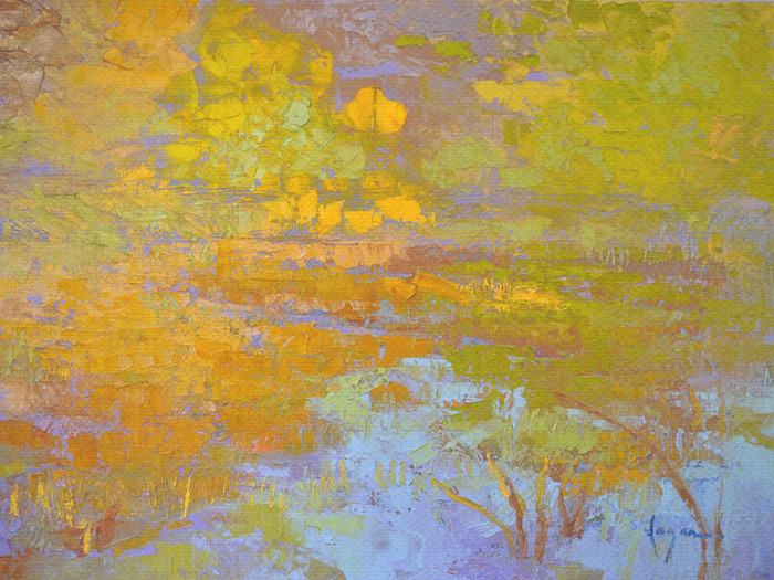 Pond III ~ Water Reflections Painting, Fine Art Print on Canvas